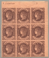 1862, 4 cu., brown on reddish paper, upper right corner block of (9), including