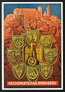 1938 Reich party rally of the NSDAP in Nuremberg. NS armorial shields surrounding an eagle