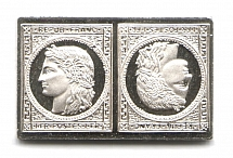 1849 France 1 Fr (Sterling Silver Miniature, Greatest Stamps of The World)