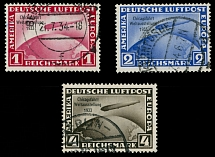 Germany 1933, Zeppelin Chicago Flight, 1m, 2m and 4m, complete set of 3, used
