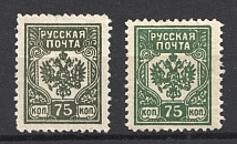 1919 Russian Post Civil War 75 kop (Varieties of Color)