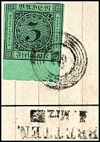 3 Kr. Black on green with 8 mm lower margin on letter piece with five ring