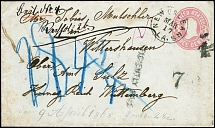 "1868, postal stationery envelope 3 c. carmine used from ""NEW ORLEANS LA."