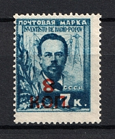 1927-28 Gold Definitive Issue, Soviet Union USSR (Zv. #167a, `8` INVERTED, Print Error, CV $275, MNH)