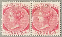 1860, 2 d., rose, pair, wmk pineapple, perf. 14, M not H almost MNH, the pair is
