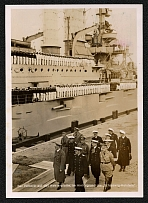 "1940 Generalgovernment The Fuhrer at the Westerplatte, the ""Schleswig-Holstein"" in the background."