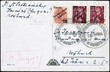 POSTAGE DUE: 1945, Postage due 10 on 2f. with overprint type IV together with