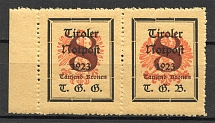 1921 Tyrol Austria Local Post Pair (Different Size of Value and Eagle, MNH)
