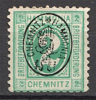 1887 Chemnitz Germany Private Courier Post (Inverted Overprint Error, Cancelled)