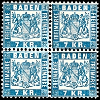 7 kreuzer blue, block of four, mint never hinged outstanding quality, Michel