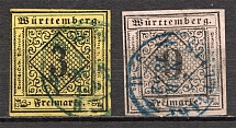 1851-52 Wurttemberg Germany (CV $70, Cancelled)