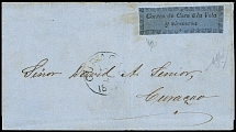 1867, black on blue, fresh colour, close to slightly touched, on folded