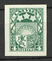 1923-25 Latvia 4 S (Probe, Proof, MNH)