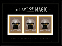 2018, The Art of Magic, (50c) multicolored, souvenir sheet of three ''Forever'' stamps with die cutting omitted, perfect quality, VF and scarce