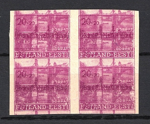 1941 20pf Occupation of Estonia, Germany (Multiple Printing, Print Error, Block of Four, Mi. 5DD, Signed, CV $520, MNH)