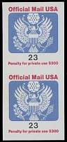United States, OFFICIAL MAIL: 1991-93, Coat of Arms, 23c, vertical imperf pair