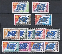 France 1963 Council of Europe set of 9 f mint, ditto 1975 set of 4 sgC7-19 c£35+
