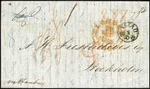 "1849, unpaid entire letter from New York (dated 12.9.) via ""LONDON 28.SEP."""
