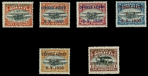 Bolivia 1930, Zeppelin issue, surcharge and overprints, set of six