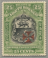 1916, 25 c., apple-green, with carmine + opt, perf. 14 1/2 - 15, fresh and perfe