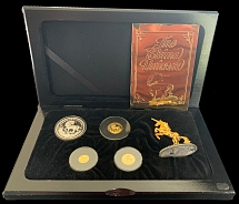 PRC 1994, Unicorn, 3 gold and 1 silver coins with statuette in laquered box