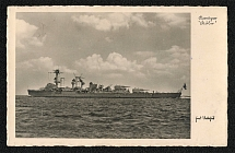 1935 Navy Week Card with photo and postmark of Cruiser Koln