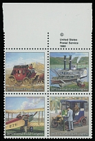 1989, 20th UPU Congress, Historical Mail Delivery, (25c) multicolored, top sheet margin inscribed se-tenant block of four, dark blue color omitted