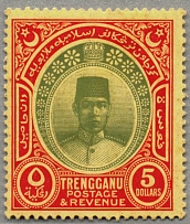 1921-41, 5 $, green and red/yellow, wmk Mult Script CA, LPOG, very fresh copy,