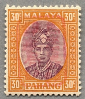 1942, 30 c., dull purple and orange, with red opt/type 1, LPOG, very fresh and