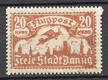 1922 Danzig Gdansk Germany Airmail (Printing Error, Overinked)