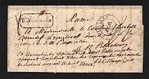 1850 Cover from Rome to St. Petersburg (Coat of Arms Embossing and Seal, Notable Person, Dobin 4.03)