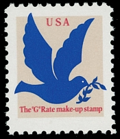 1994, stamp making-up ''G'' rate, (3c) tan, bright blue and red, double impression of red color, full OG