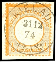 1 / 2 Gr. Orange, large shield, with centric clear North German Postal