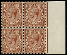 1912, King George V, 1½p red brown, watermark Royal Cypher, right sheet margin block of four, upper right stamp with ''PENCF'' variety (position R15/12)