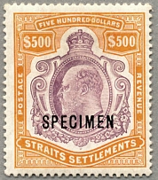 1906-12, $ 500, purple and orange, with black SPECIMEN opt., chalk surfaced