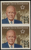 1990, Dwight D. Eisenhower, imperforated proof of 25c multicolored, vertical imperforated pair, full OG, NH