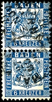 6 Kr. Prussian-blue, in the having bright colors vertical pair with on all