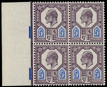 1902, King Edward VII, 5p slate purple and ultramarine, De La Rue printing on chalk-surfaced paper, left sheet margin block of four, sound quality item