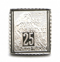 1893 Tahiti 25 Cent (Sterling Silver Miniature, Greatest Stamps of The World)