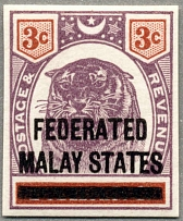 1900, 3 c. in dull purple and chestnut, on PAHANG with black opt FEDERATED