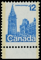 Canada, 1977, Parliament in Ottawa, 12c blue, printed on gum side