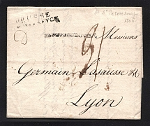 1806 Cover from St. Petersburg to Lyon, France (Dobin 0.01d - R7)