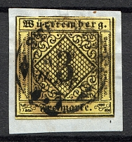 1851-52 Wurttemberg Germany 3 Kr (Cancelled)