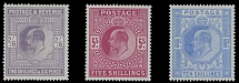 1902, King Edward VII, 2s6p lilac, 5s carmine and 10s ultra, complete set of three high values, watermark Large Anchor