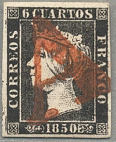 1850, 6 C., black, plate 17, red cancel