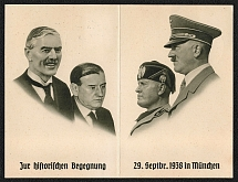 1938 To the Historical Meeting 29 September 1938 in Munchen Two-part separable souvenir card