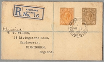 1929, 6 d. + 1 s., on registered letter from FOX BAY/Falklands to BIRMINGHAM/UK,