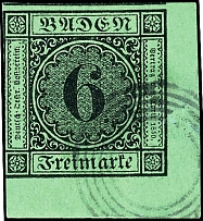6 kreuzer green, corner of the sheet lower right neat cancelled with four ring