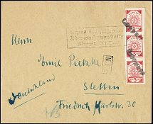 1918, 5k. as vertical strip of three tied by straight-line
