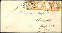 1 / 2 Gr. Orange, large shield, two horizontal pairs on cover in the 2nd